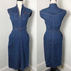 Vintage Diane Von Furstenberg Denim Zip Dress